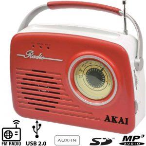 AKAI APR-11R Φορητόραδιόφωνο με USB, κάρτα SD, AUX-In και ρετρό σχεδιασμό σε κόκκινο χρώμα με USB, SD και είσοδο AUX.