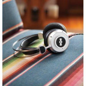EM-DH003-IO Ακουστικά δερμάτινα / inox με μικρόφωνο και θήκη