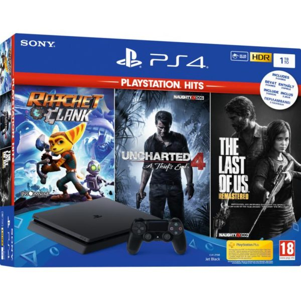 PlayStation 4 Slim Black 1TB & Playstation Hits Rachet&Clank & The Last of Us Remastered & Uncharted 4