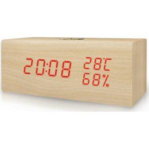 WES-106 Ξύλινο ψηφιακό θερμόμετρο/υγρόμετρο
