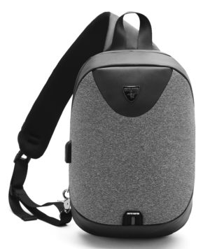 ARCTIC HUNTER τσάντα Crossbody XB0049-DG, αδιάβροχη, USB, σκούρο γκρι