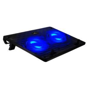 """POWERTECH Βάση & ψύξη laptop PT-739 έως 17"""", 2x 120mm fan, LED, μαύρο"""