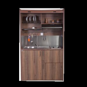 Silver ΚΣ125 Πολυκουζινάκι Καρυδί χωρίς Ψυγείο με Αριστερή Γούρνα 125x65x209cm